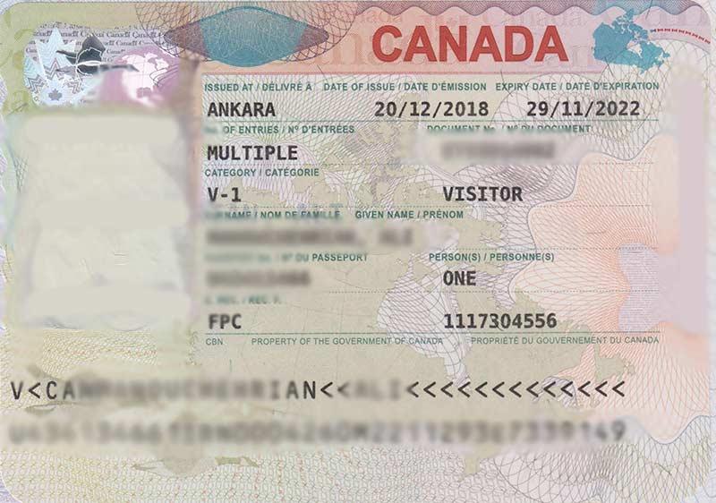 نمونه ویزای کانادا